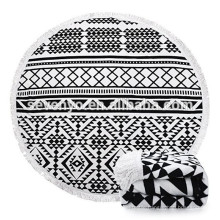 100% cotton Large Round Beach Blanket with Tassels Ultra Soft Super Water Absorbent Multi-Purpose Towel 59 inch